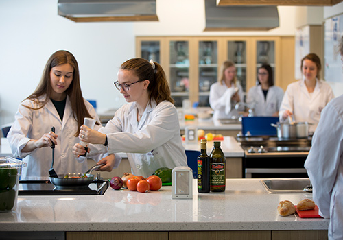 Students in the food labs cooking